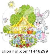 Cartoon Happy Female Bunny Rabbit Watering A Flower Garden On A Spring Day