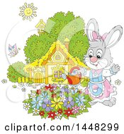 Cartoon Happy Female Bunny Rabbit Watering A Flower Garden On A Spring Day