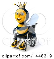 3d Happy King Bee In A Wheelchair On A White Background
