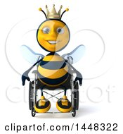 Clipart Of A 3d Happy King Bee In A Wheelchair On A White Background Royalty Free Illustration by Julos
