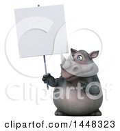3d Reggie Rhinoceros Mascot Holding A Blank Sign On A White Background