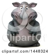 Clipart Of A 3d Sad Reggie Rhinoceros Mascot On A White Background Royalty Free Illustration by Julos