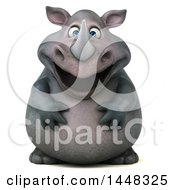 Clipart Of A 3d Reggie Rhinoceros Mascot On A White Background Royalty Free Illustration by Julos