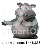 Clipart Of A 3d Reggie Rhinoceros Mascot Presenting On A White Background Royalty Free Illustration