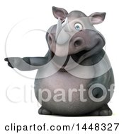 Clipart Of A 3d Reggie Rhinoceros Mascot Pointing On A White Background Royalty Free Illustration by Julos