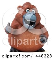 3d Orangutan Monkey Mascot Giving A Thumb Up On A White Background