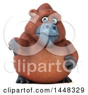 3d Orangutan Monkey Mascot Giving A Thumb Down On A White Background