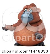 3d Orangutan Monkey Mascot Presenting On A White Background