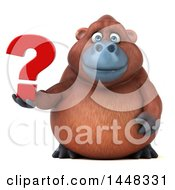 Clipart Of A 3d Orangutan Monkey Mascot Holding A Question Mark On A White Background Royalty Free Illustration