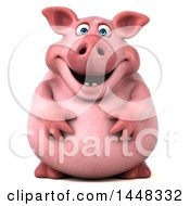 Clipart Of A 3d Chubby Pig On A White Background Royalty Free Illustration by Julos