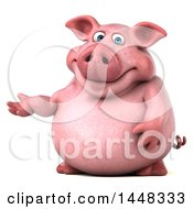 Clipart Of A 3d Chubby Pig Presenting On A White Background Royalty Free Illustration by Julos