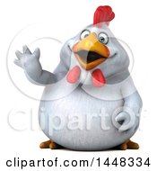 Clipart Of A 3d Chubby White Chicken Waving On A White Background Royalty Free Illustration