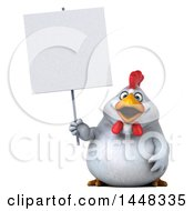 Clipart Of A 3d Chubby White Chicken Holding A Blank Sign On A White Background Royalty Free Illustration