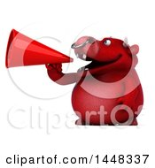 Clipart Of A 3d Red Bull Character Announcing With A Megaphone On A White Background Royalty Free Illustration