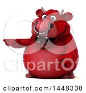 Clipart Of A 3d Red Bull Character Pointing On A White Background Royalty Free Illustration