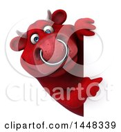 Clipart Of A 3d Red Bull Character Pointing Around A Sign On A White Background Royalty Free Illustration