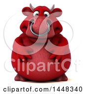 Clipart Of A 3d Red Bull Character On A White Background Royalty Free Illustration