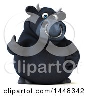 Clipart Of A 3d Black Bull Character Giving A Thumb Up On A White Background Royalty Free Illustration by Julos