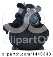 Clipart Of A 3d Black Bull Character Giving A Thumb Down On A White Background Royalty Free Illustration