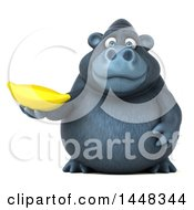 3d Gorilla Mascot Holding A Banana On A White Background