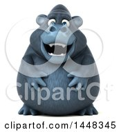 Clipart Of A 3d Gorilla Mascot On A White Background Royalty Free Illustration by Julos