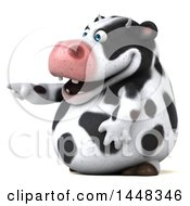 Clipart Of A 3d Holstein Cow Character Pointing On A White Background Royalty Free Illustration by Julos