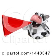 Clipart Of A 3d Holstein Cow Character Announcing With A Megaphone On A White Background Royalty Free Illustration