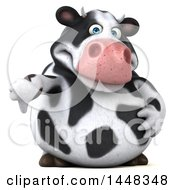 Clipart Of A 3d Holstein Cow Character Giving A Thumb Down On A White Background Royalty Free Illustration by Julos