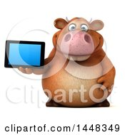 Clipart Of A 3d Brown Cow Character Holding A Tablet Computer On A White Background Royalty Free Illustration by Julos
