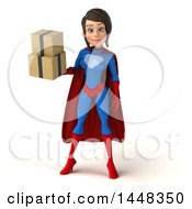 Clipart Of A 3d Young Brunette White Female Super Hero In A Blue And Red Suit Holding Shipping Boxes On A White Background Royalty Free Illustration by Julos