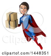 Clipart Of A 3d Young Brunette White Female Super Hero In A Blue And Red Suit Flying And Holding Shipping Boxes On A White Background Royalty Free Illustration by Julos