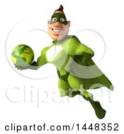 Clipart Of A 3d Buff White Male Green Super Hero Flying With A Globe On A White Background Royalty Free Illustration