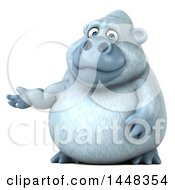 Clipart Of A 3d White Monkey Yeti Presenting On A White Background Royalty Free Illustration