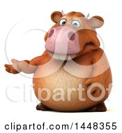Clipart Of A 3d Brown Cow Character Presenting On A White Background Royalty Free Illustration by Julos
