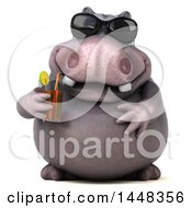 Clipart Of A 3d Henry Hippo Character Wearing Sunglasses And Shipping A Drink On A White Background Royalty Free Illustration