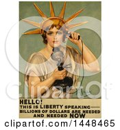 Vintage Illustration Of The Statue Of Liberty Using A Phone