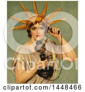 Vintage Illustration Of The Statue Of Liberty Talking On A Candlestick Phone