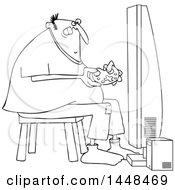 Poster, Art Print Of Cartoon Black And White Lineart Chubby Man Playing Video Games