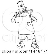 Poster, Art Print Of Cartoon Black And White Lineart Boy Aiming A Slingshot