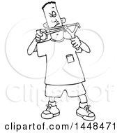 Cartoon Black And White Lineart Boy Aiming A Slingshot