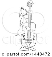 Cartoon Black And White Lineart Dog Musician Playing A Double Bass