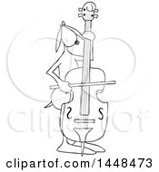 Cartoon Black And White Lineart Dog Musician Playing A Bass Fiddle