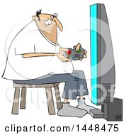 Cartoon Chubby White Man Playing Video Games