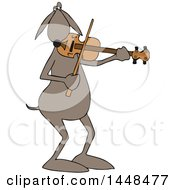 Clipart Of A Cartoon Dog Musician Playing A Violin Royalty Free Vector Illustration