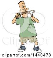 Poster, Art Print Of Cartoon White Boy Aiming A Slingshot