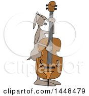 Clipart Of A Cartoon Dog Musician Playing A Double Bass Royalty Free Vector Illustration