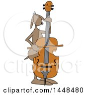 Clipart Of A Cartoon Dog Musician Playing A Bass Fiddle Royalty Free Vector Illustration