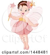 Cute White Brunette Toddler Fairy Girl In Pink
