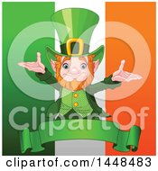 Clipart Of A Welcoming St Patricks Day Leprechaun Over A Banner And Irish Flag Royalty Free Vector Illustration