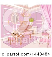 Clipart Of A Pink Piano In A Palace Music Room Royalty Free Vector Illustration